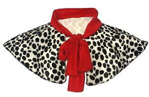 Cruella Deville Shawl Dalmatian Spot Valboa Fur With Red Polyester Tie