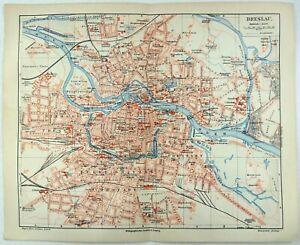 Breslau, Germany - Original 1905 City Map by Meyers. Wroclaw Poland. Antique