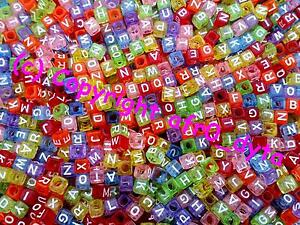 🎀 3 FOR 2 🎀 100 Transparent Coloured Alphabet Mixed Letter Cube Pony Beads 6mm