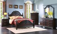 ELEGANT CHERRY FINISH 4 PC KING BED N/S DRESSER & MIRROR BEDROOM FURNITURE SET