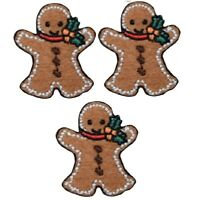 Mini Gingerbread Man Christmas Applique Patch (3-Pack, Mini, Iron on)