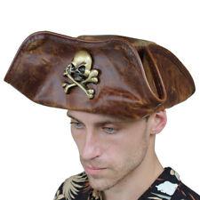 Handmade Leather Pirate Sea Dog Tricorn Re-enactment  Hat