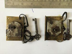 Antique Brass  Cabinet  Lock & Key X 2