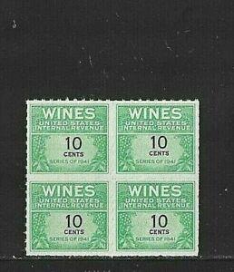 Wines & Cordials Tax Stamp, Scott RE123 Block of 4 MNGAI F-VF