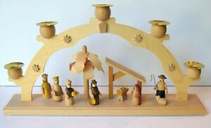 German, Wooden 5 Candle Arched Christmas Nativity Scene, Straco