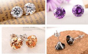 925 Sterling Silver Round CZ Crystal Stud Earrings with Backs 5mm, 6mm