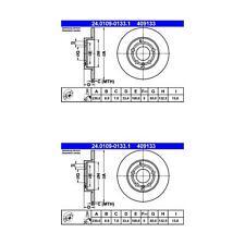 Audi TT Quattro ATE/Premium One Rear Disc Brake Rotors (2) 409133 1J0615601D