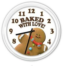 Gingerbread Man Cookie Baked with Love SILENT Wall Clock - Kitchen Bakery - GIFT