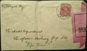 BOER WAR SOUTH AFRICA JAN 1900 CENSORED COVER SENT VIA DELAGOA BAY TO CAPE TOWN