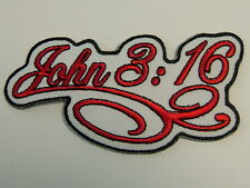 """Patch,  """"RELIGIOUS - JOHN 3:16 - Scroll""""  embroidered emblem, PH432"""