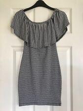 Ladies/Girl's Miss Selfridge Striped Off Shoulder/Frill Mini Dress in UK Size 6