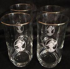 SET OF 4 AVON MRS ALBEE GOLD RIMMED 12 Oz Tea Water Glass Tumblers Glasses