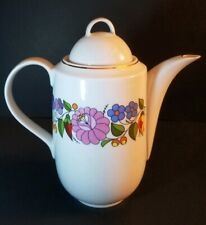 Porcelain Tea/ Coffe Pot Kalocsa Handpainted Hungary New