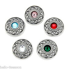 5PCs Mixed Silver Tone Round Snap Button Jewelry Charms Fit Snap Bracelet