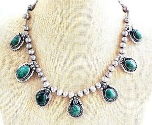 Vtg/Antique Hand Made Navajo Sterling Silver & Green Turquoise Necklace 17-1/2""