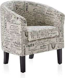 Upholstered Barrel Chair Tub Club Armrest Accent Fabric, Black & Beige