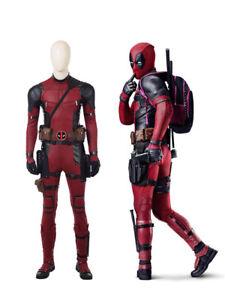 Deadpool 2 Mens Cosplay Costume Jumpsuit Red Halloween Full Set Custom made New