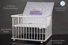 Laufgitter Baby Laufstall weiß 100x100 stufenlose Höhenverstellung + Matratze
