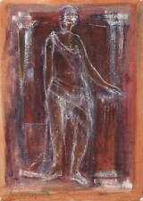 DOROTHY KIRKBRIDE Oil Painting On Paper ABSTRACT GUARDIAN FIGURE 1981