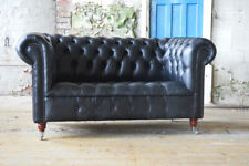 TRADITIONAL HANDMADE 2 SEATER BLACK VINTAGE LEATHER CHESTERFIELD SOFA, SETTEE
