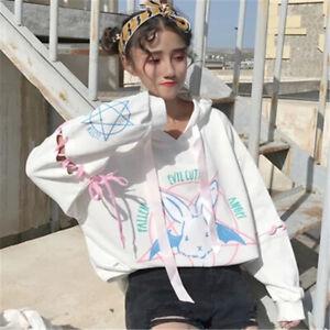 Hooded Sweatshirt Japan Harajuku Women Cartoon Rabbit Bunny Loose Straps Hoodie