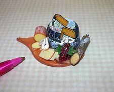 Miniature Falcon Fruit/Cheese Spread on TEARDROP SHAPED Board: DOLLHOUSE 1:12
