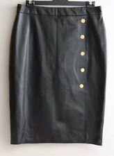 WITCHERY Size 16 Black Faux Leather Midi Pencil SKIRT Gold Button Detail