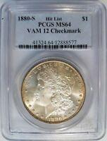 1880 S Morgan Silver Dollar PCGS MS 64 Vam 12 Checkmark Mint Error Toned Toning