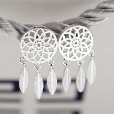 Women 925 Sterling Silver Jewelry Elegant Crystal Net Tassel Ear Stud Earrings