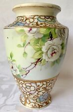 EXQUISITE 10in c1891 ANTIQUE NIPPON VASE, WHITE ROSES, BLUE MAPLE LEAF MARK