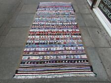 Vintage Old Traditional Hand Made Oriental Cotton Wool Blue Kilim 238x115cm