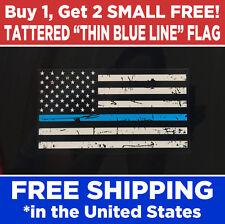 Thin Blue Line, Tattered USA Flag, Vinyl Bumper Sticker Decal