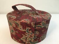 Vintage Jewelry Case Vanity Case Round With Mirror Red Floral
