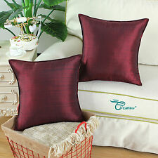 Set of 2 Cushion Covers Pillows Cases Striped Dyed Home Sofa Decor 45cm Burgundy