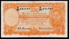 Australia 10 Shillings (1/2 Pound) 1952 Coombs / Wilson  P-25a  B46