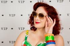 Oversized vintage Helena Rubenstein sunglasses - 70s gold & silver square frame