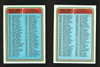 VINTAGE Lot 2 x OPC O-PEE-CHEE Checklist Cards