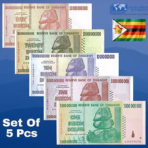 ZIMBABWE 1 5 10 20 50 Billion Dollars 2008 - USED Condition - [TRILLION 50 100]