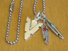 Southwest Arrowhead Silver-Tone Pendant Necklace Faux Turquoise Feather+/Men's