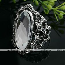 1x Tibetan Silver Plated Clear Crystal Glass Oval Faceted Adjustable Finger Ring