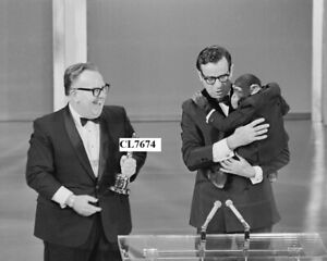 Walter Matthau and Chimpanzee Present Oscar to John Chambers at Academy Awards