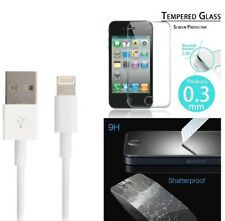 Genuine Apple Lightening USB Cable Lead iPhone 5 5c 5s Tempered Screen Protector