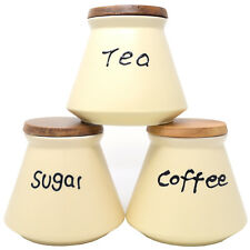 SET OF 3 13CM KITCHEN DOME CANISTERS SUGAR COFFEE TEA CERAMIC WOODEN LID CREAM