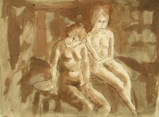 Original antique studio etching gravure print; Two nudes, 1930's