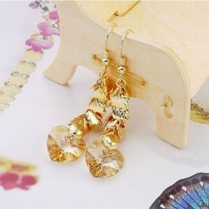 Yellow Zircons Swarovski Crystal 18k GP Lady Earrings ! Gift Jewelry & Love