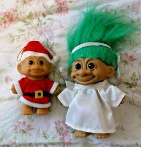 "Vtg GOOD LUCK TROLLS Russ  SANTA & Angel CHRISTMAS  5"" & 4""  LOT OF 2"
