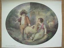 VINTAGE 1912 PRINT - THE LITTLE SHEPHERDESS By F.WHEATLEY