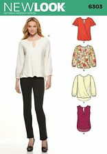 New Look 6303 Misses Blouse crossover top Sewing Pattern 8 - 20