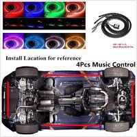 Car Tube Underbody Phone APP Control Neon Light Kits 4Pcs 8 Colors RGB Flexible