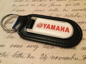 Yamaha Véritable Cuir Noir Porte-Clés Imprimé Résine Revêtement Moteur Moto